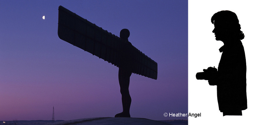 Left: Angel of the North by Anthony Gormley at dawn, Gateshead. Right: A Chinese paper cut of Heather Angel with a film camera